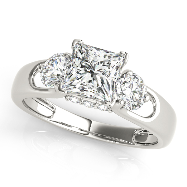 white gold engagement ring 3 round cut stones